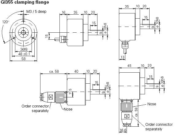 Afmetingen IVO Encoders GI355 - GI356