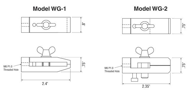 Afmetingen Imada Opzetstukken WG-1-WG-2