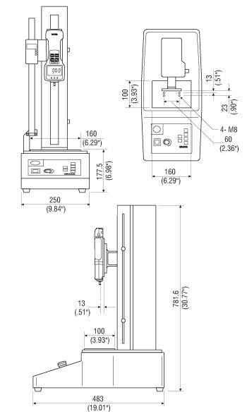 Afmetingen Gemotoriseerde Krachtmeter Trekbanken MX-500