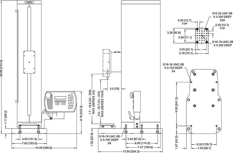 Afmetingen Gemotoriseerde Krachtmeter Trekbanken ESM303